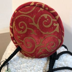 About Color Bags - Batik Red Gold Bag Cross Body Mini Cylinder Boho